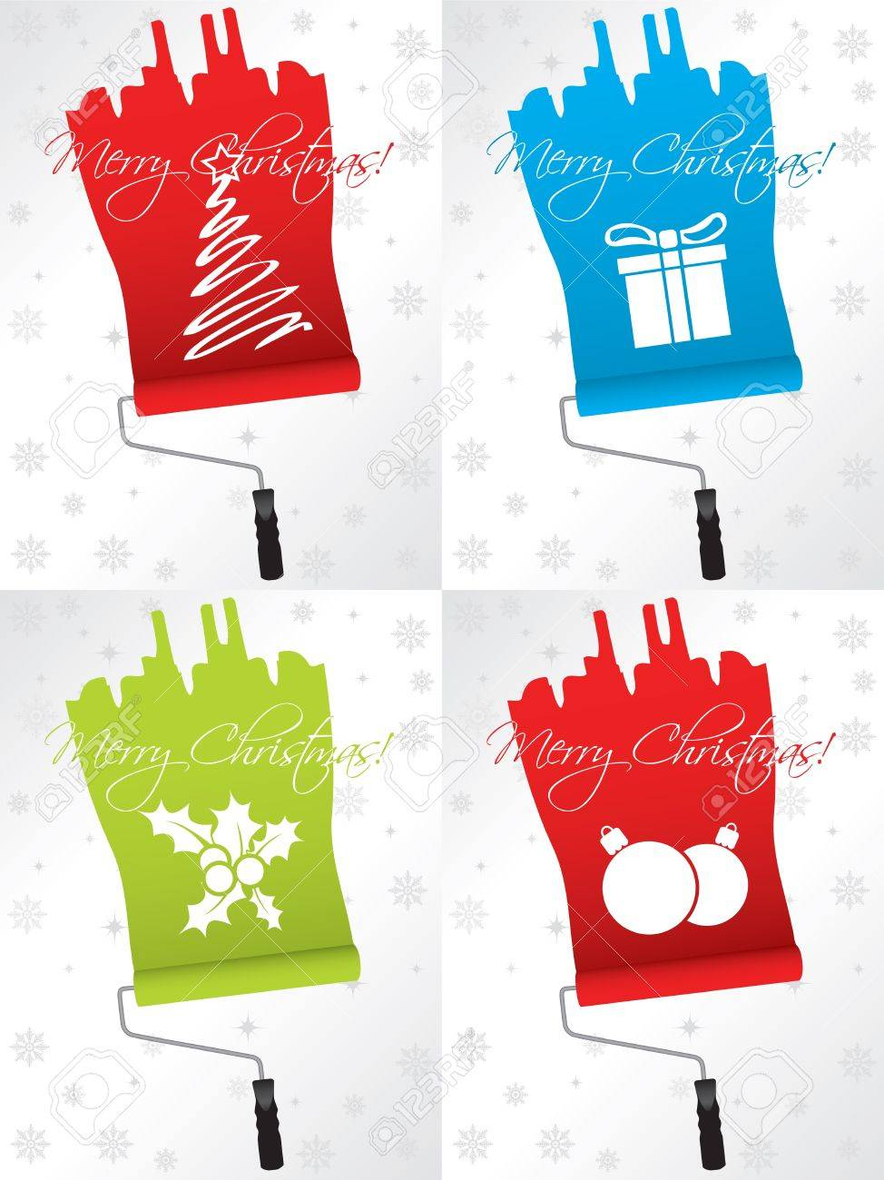 Shifty Christmas Greeting Card Designs With Paint Rollers Royalty