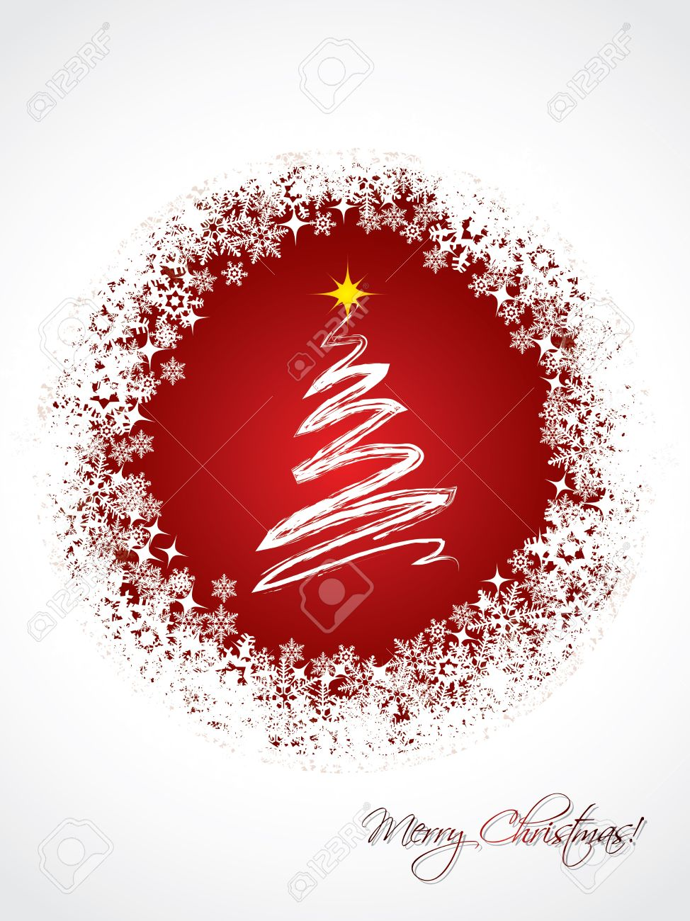White Christmas Greeting Card Design With Red Color And White