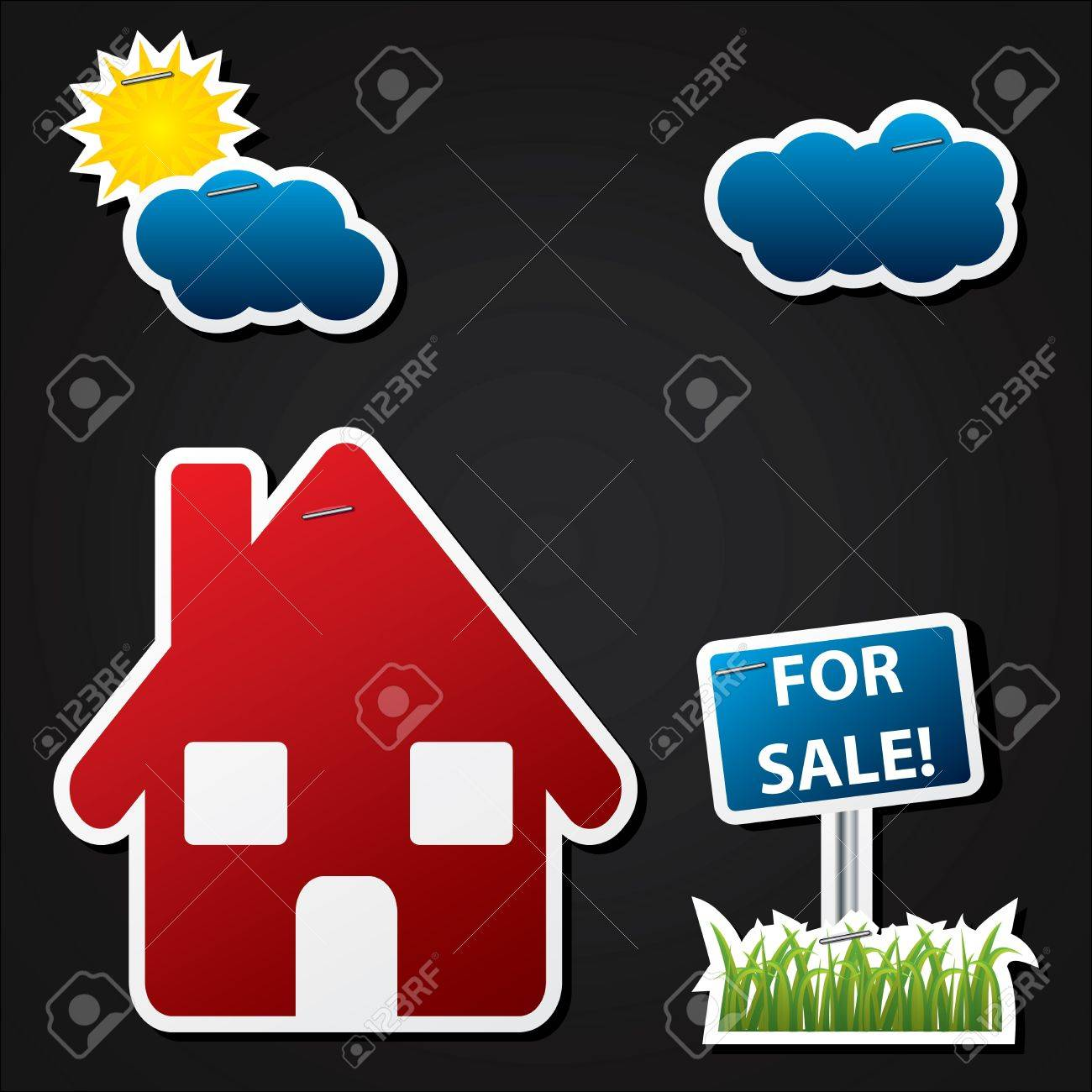 House sale advertising with color labels on black background Stock Vector - 11943953