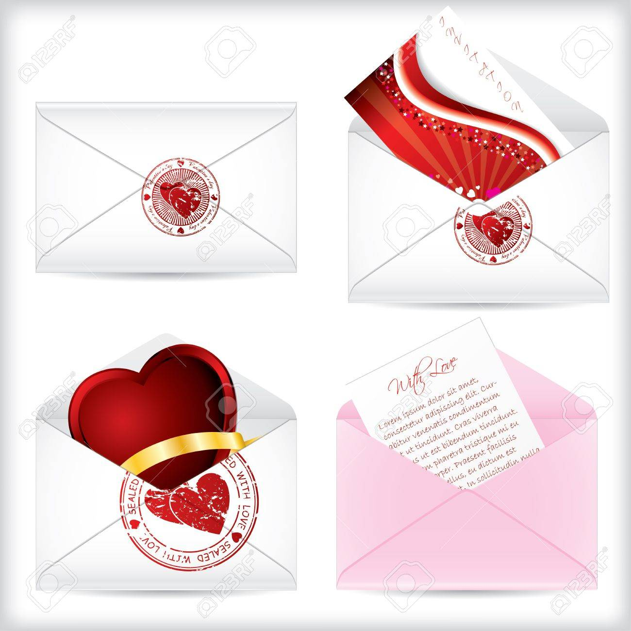 Love letters open and sealed with various things inside Stock Vector - 12004331