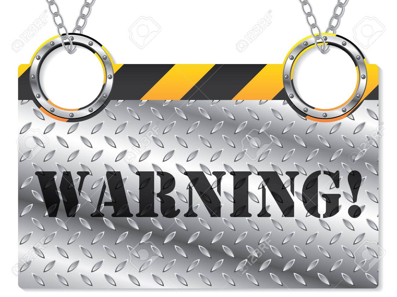 New metallic warning sign hanging on chains Stock Vector - 12004323