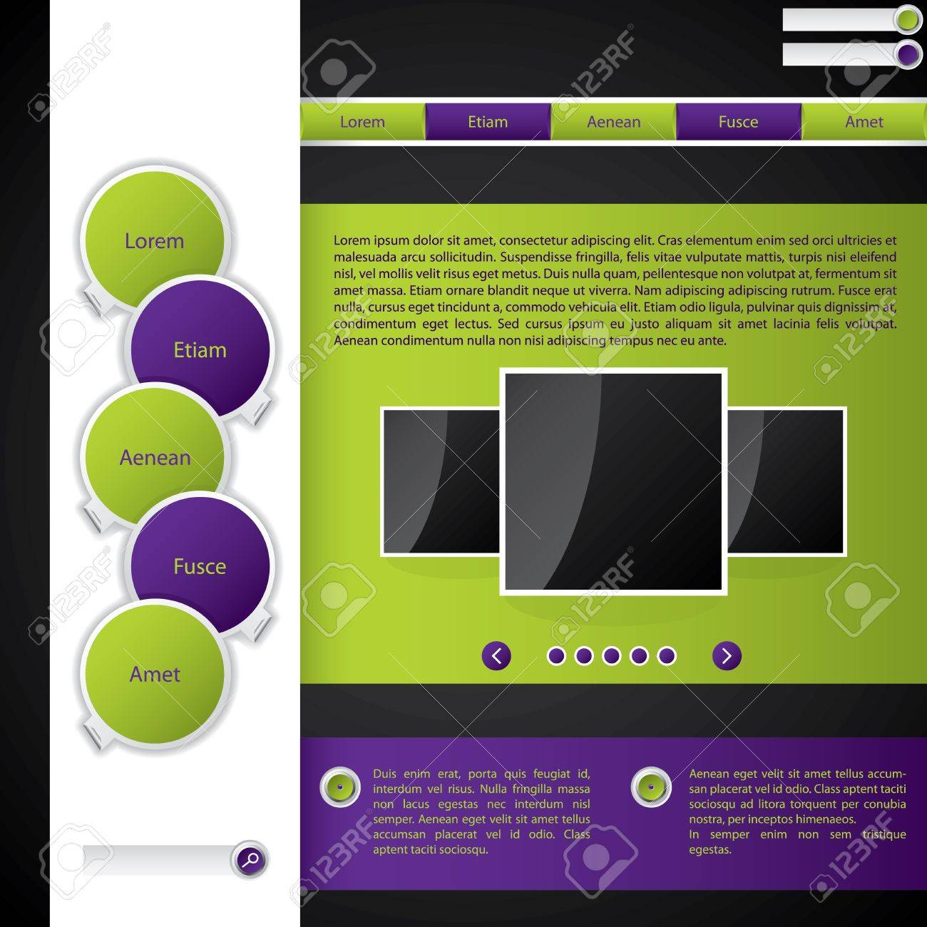 Website Template With Purple And Green Color Combination Stock Vector