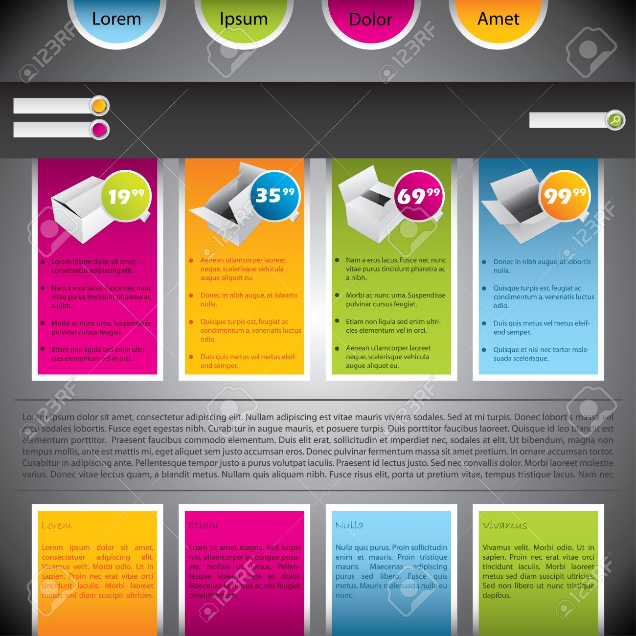 Colorful Website Template Design With Boxes And Description ...