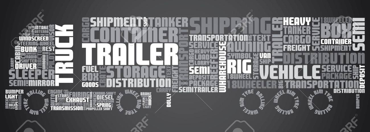 Texts shaped to show truck full of text related to transport Stock Vector - 12905692
