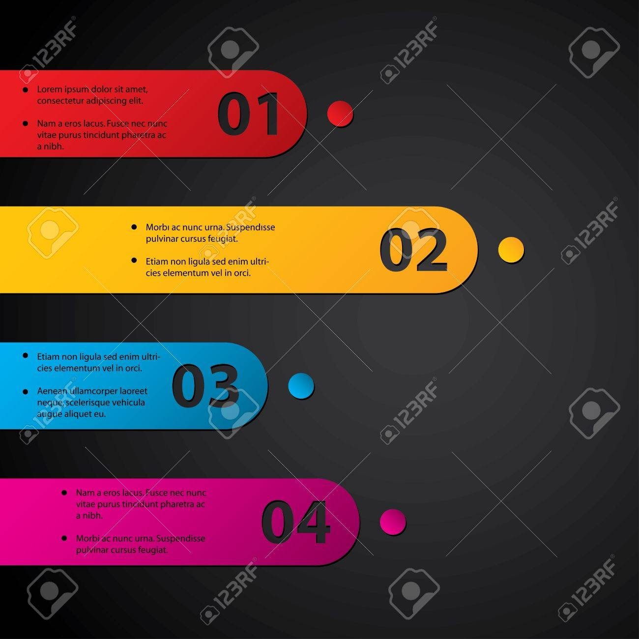 Color labels with grades on dark background Stock Vector - 13557101