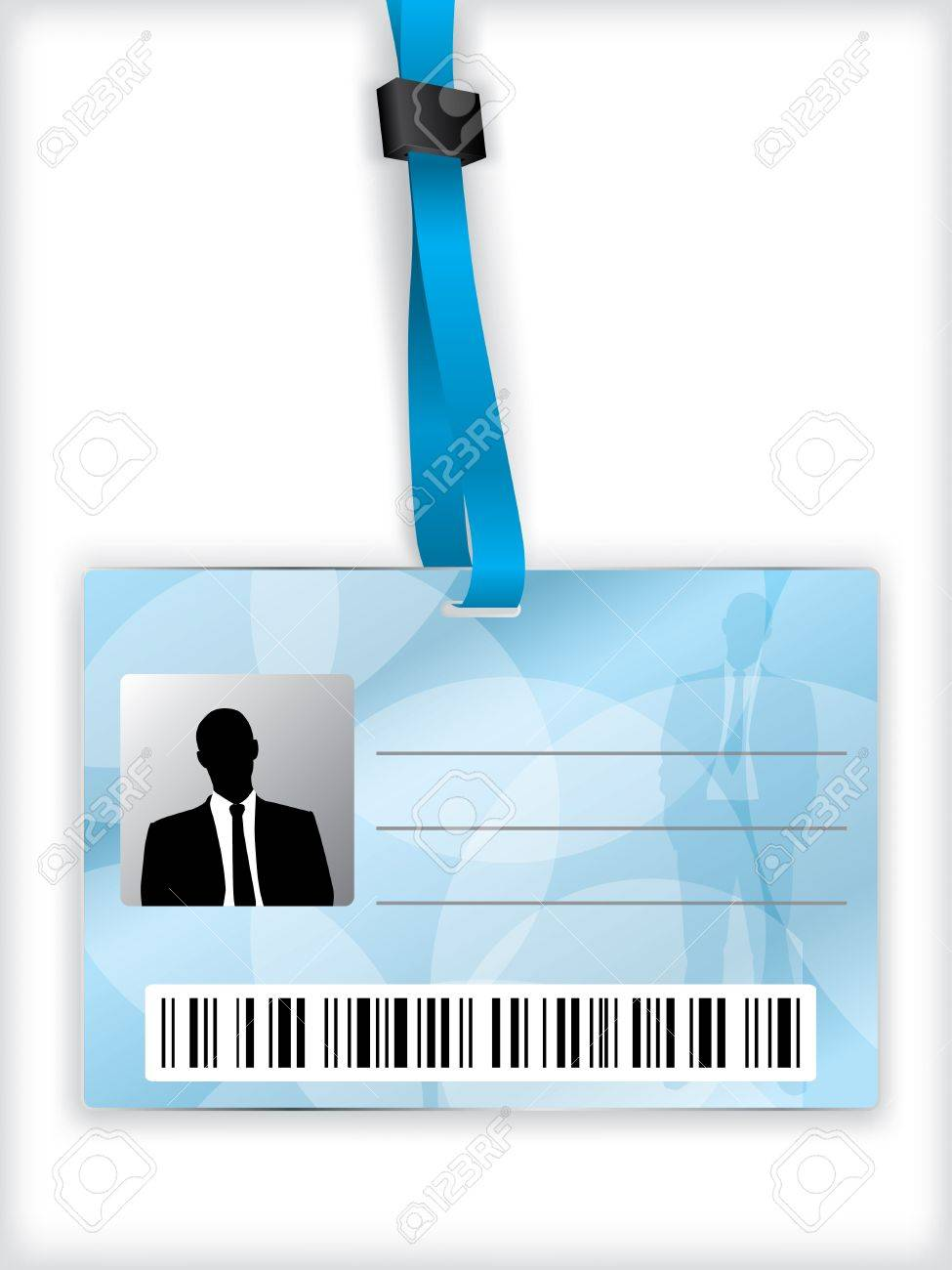 Blue business identification with barcode and lanyard - 14197269