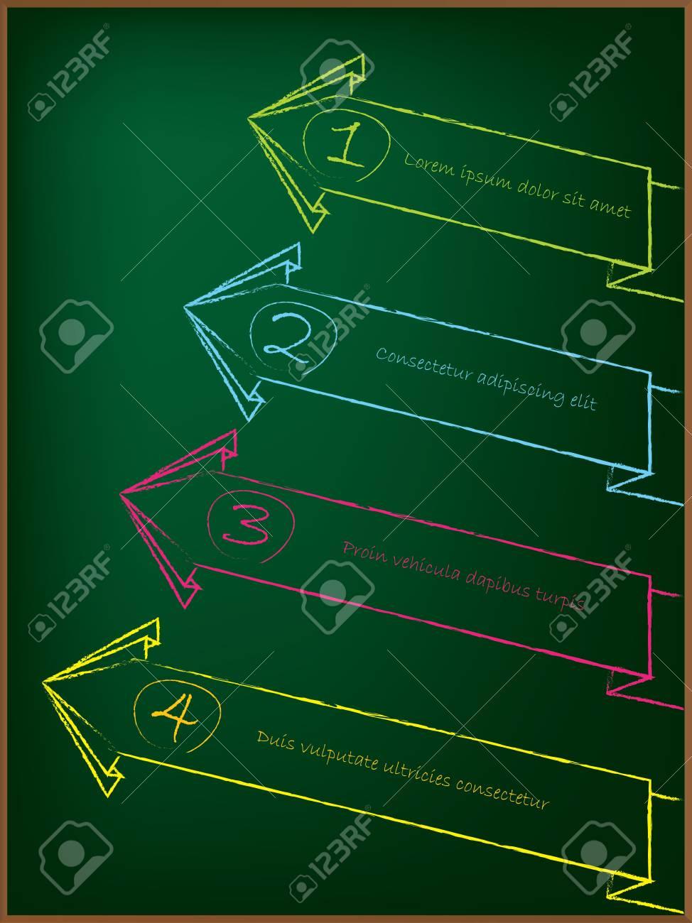 Advertising arrow label set on greenish chalkboard Stock Photo - 14576429