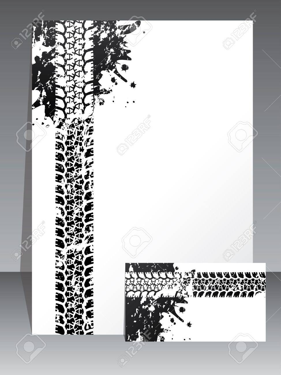 Company brochure and business card design with dirty tire tread Stock Vector - 14741024