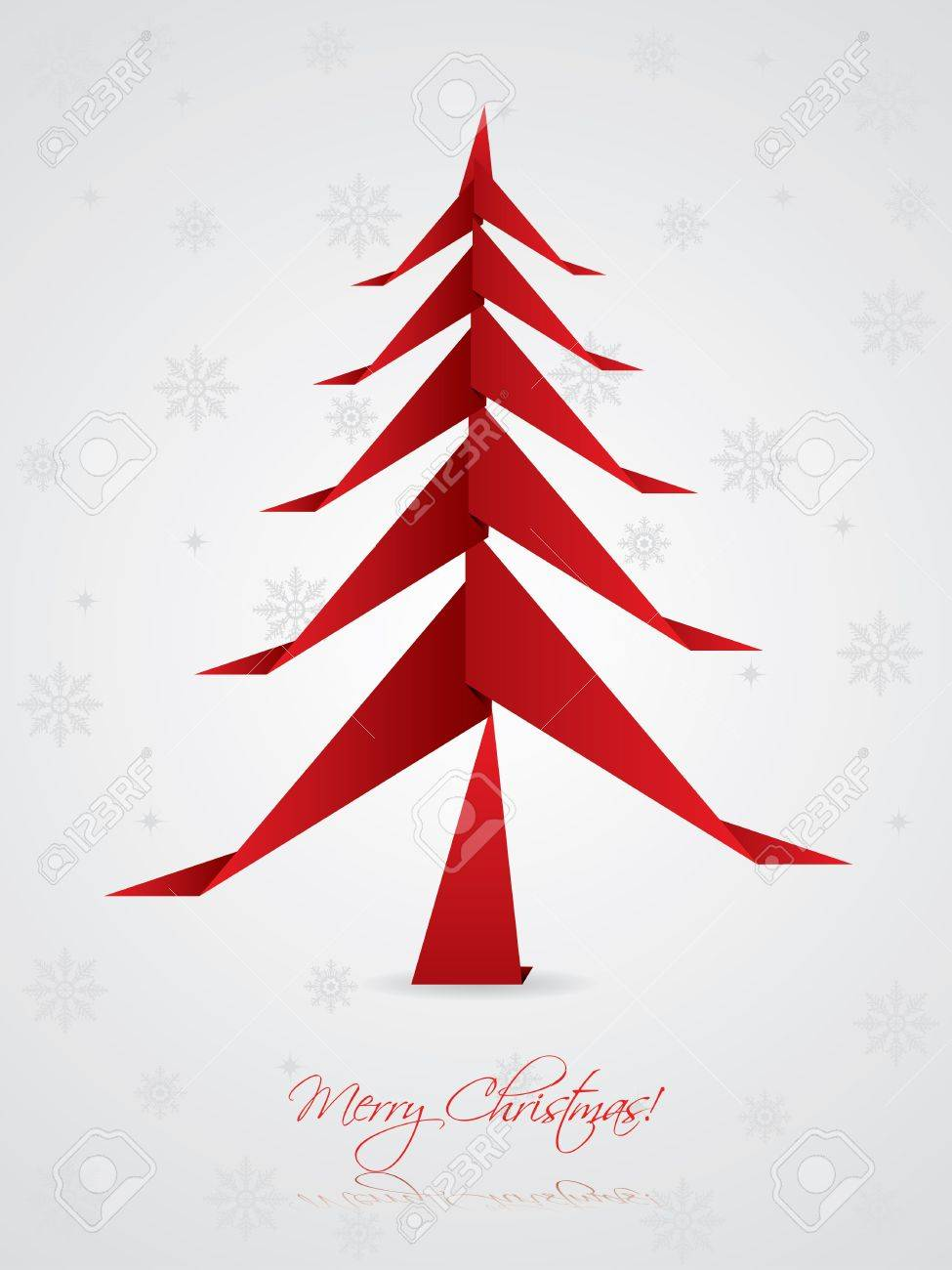 Christmas greeting card design with origami tree Stock Vector - 15193235