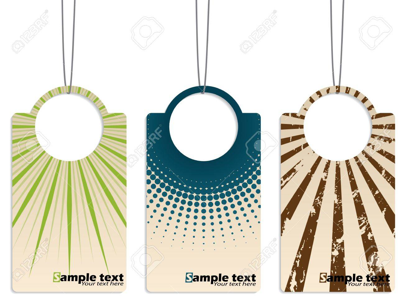 Cool Retro Design Hanging Label Set Of Three Royalty Free Cliparts ...