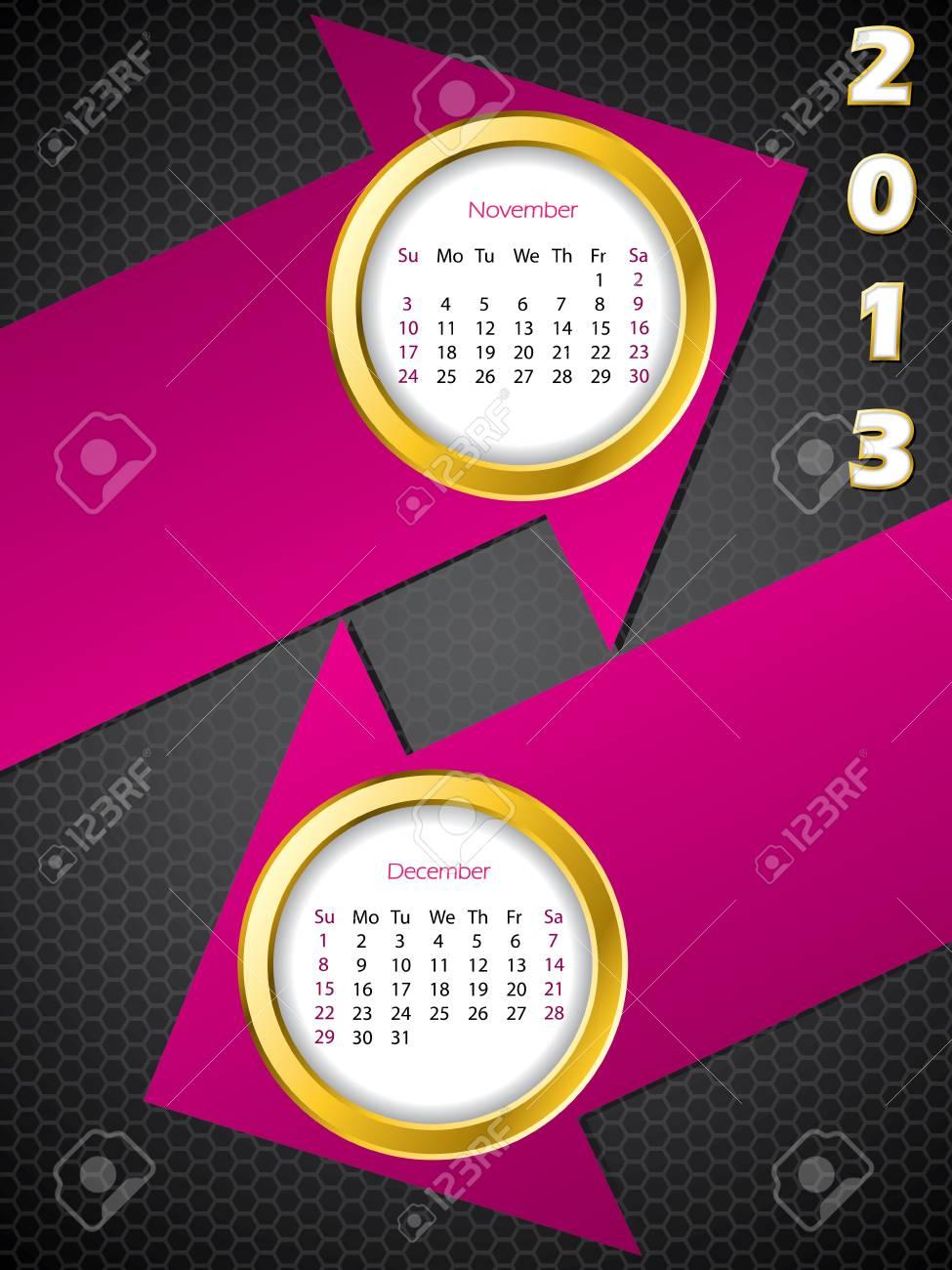 2013 arrow calendar for november and december months Stock Vector - 15516405