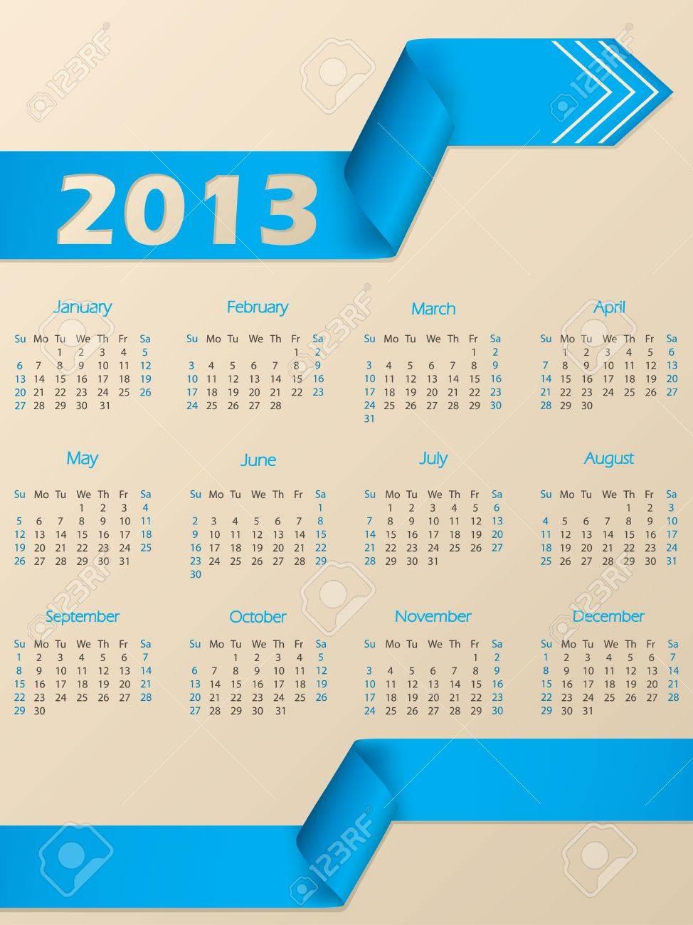 2013 calendar with arrow shaped blue ribbon Stock Vector - 15423843