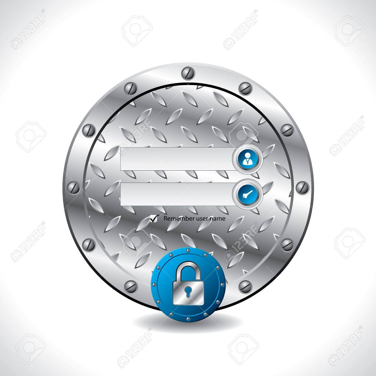 Abstract industrial login screen design with padlock button Stock Vector - 15424347