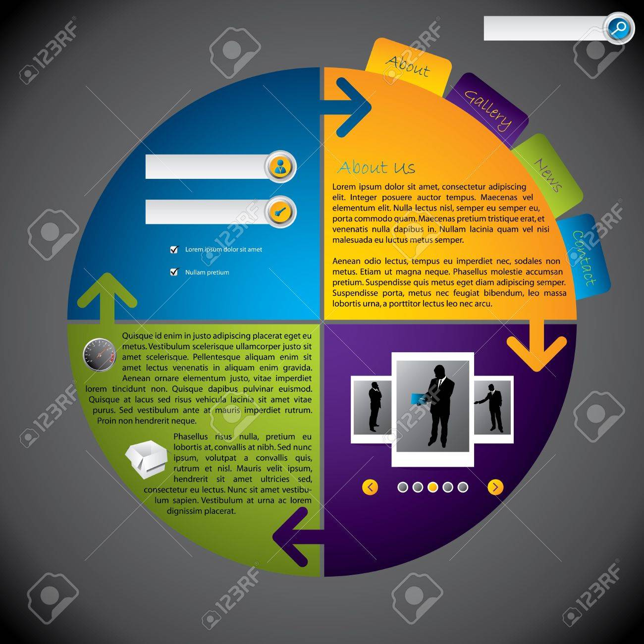 Cool new website template with rotateable design Stock Vector - 15421466