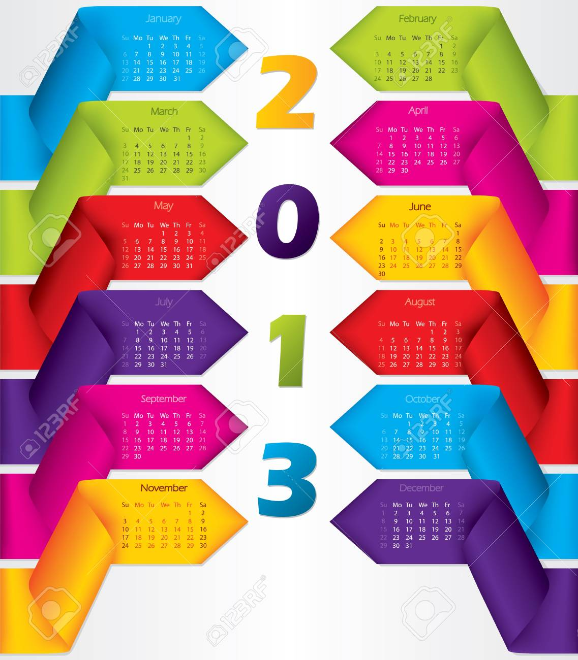 Colorful ribbon calendar design for year 2013 Stock Vector - 15730080