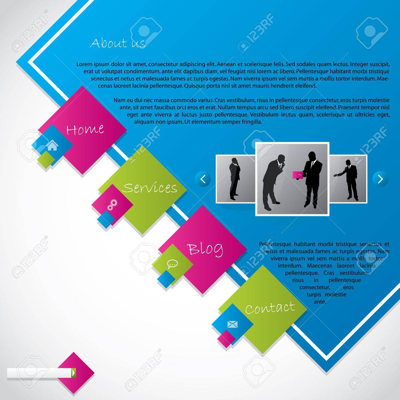 Cool new web template design with vivid colors Stock Vector - 15730034