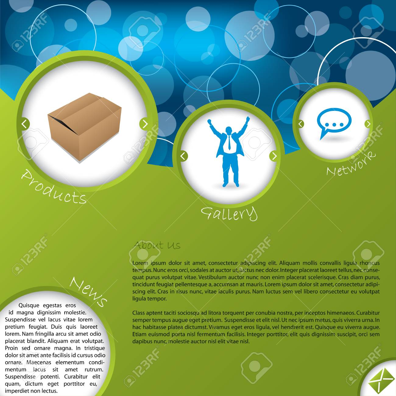 Website template design with product and gallery switch buttons Stock Vector - 15730131
