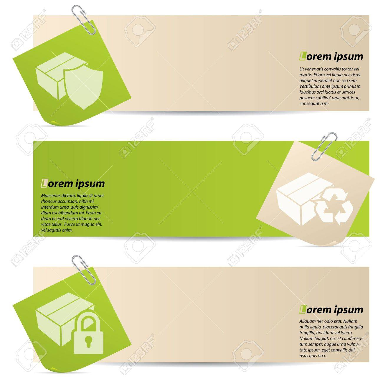 Banners with attached notepapers on white background Stock Vector - 16013282