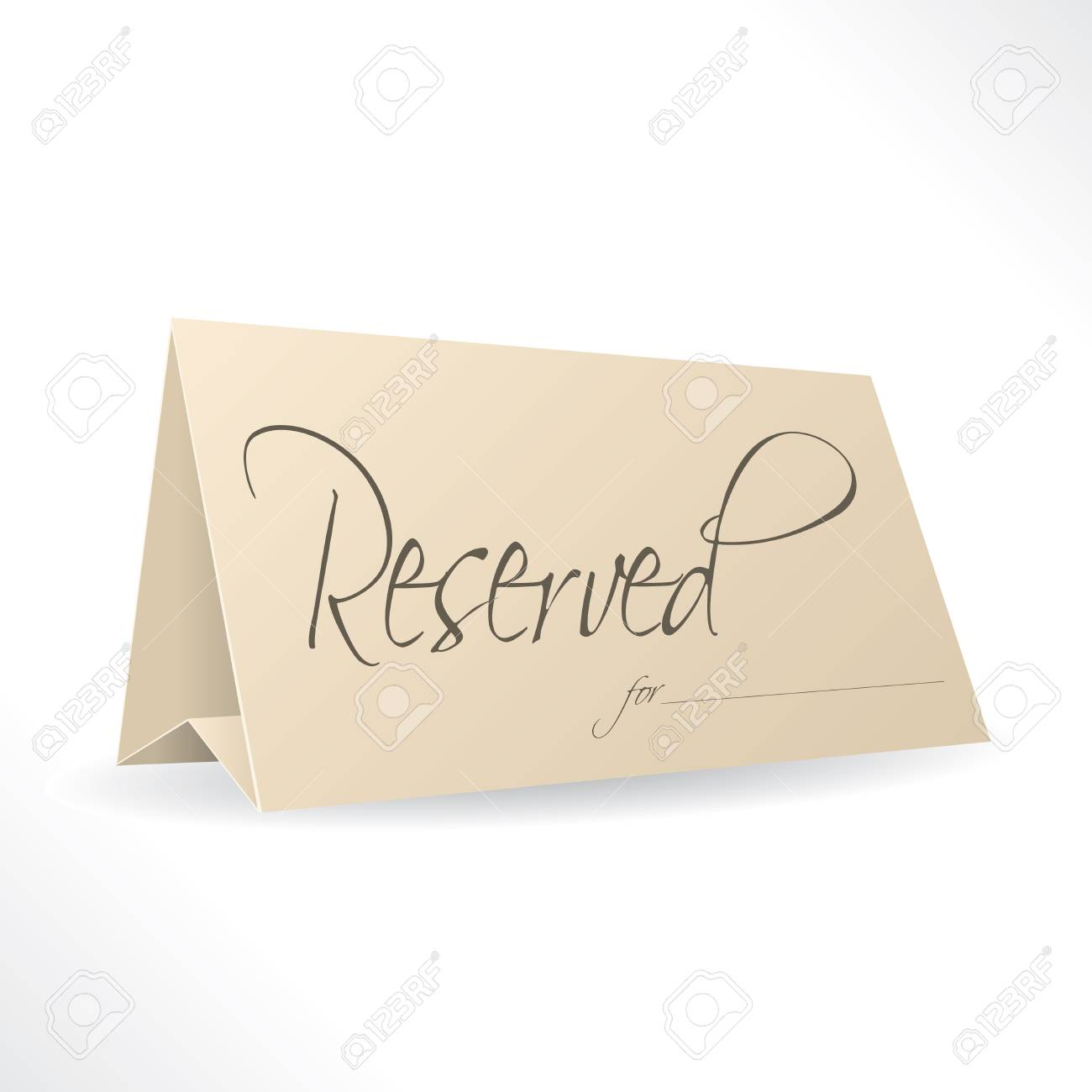 Reserved note with place for name on white background Stock Vector - 17345294