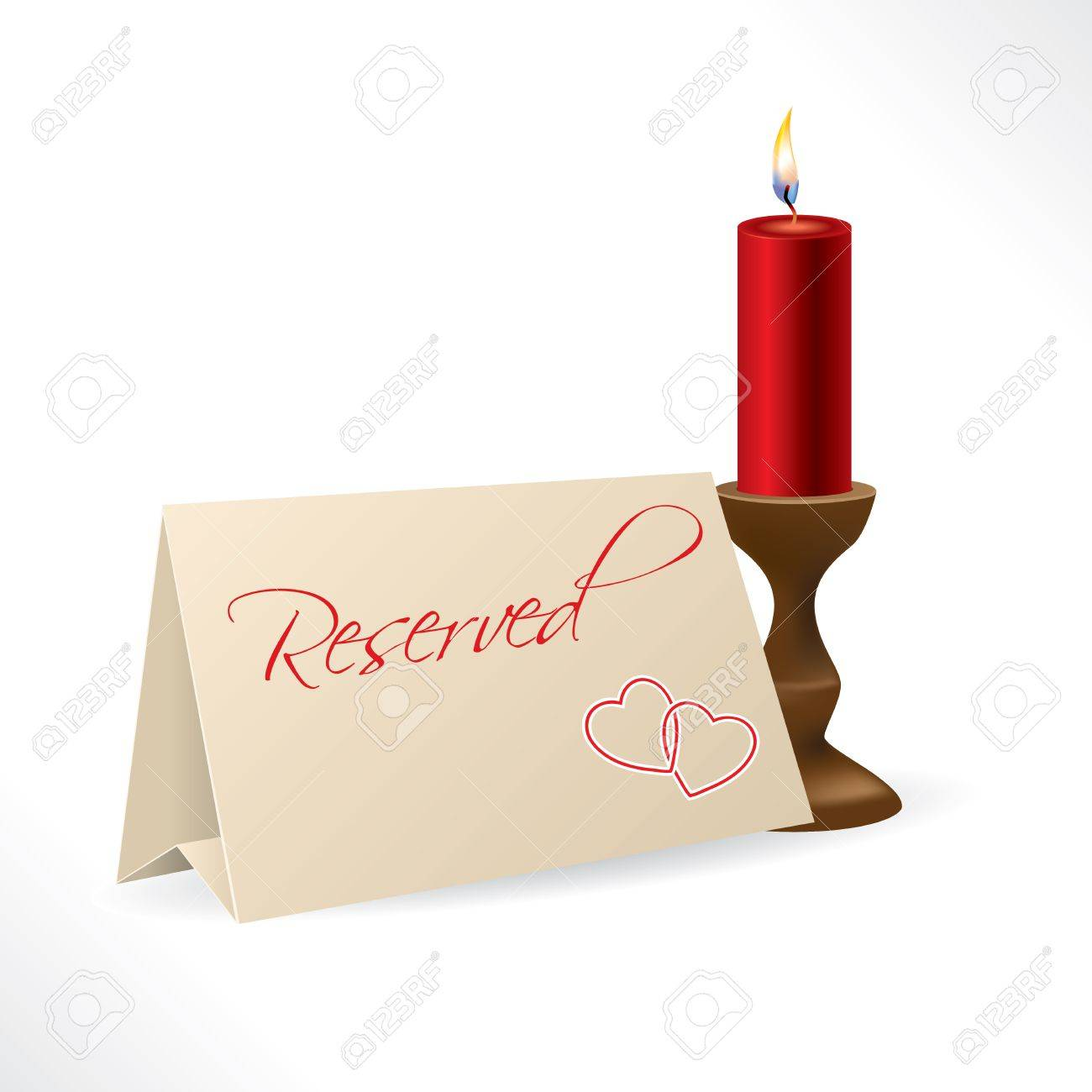 Reserved note with hearts and burning red candle Stock Vector - 17345296