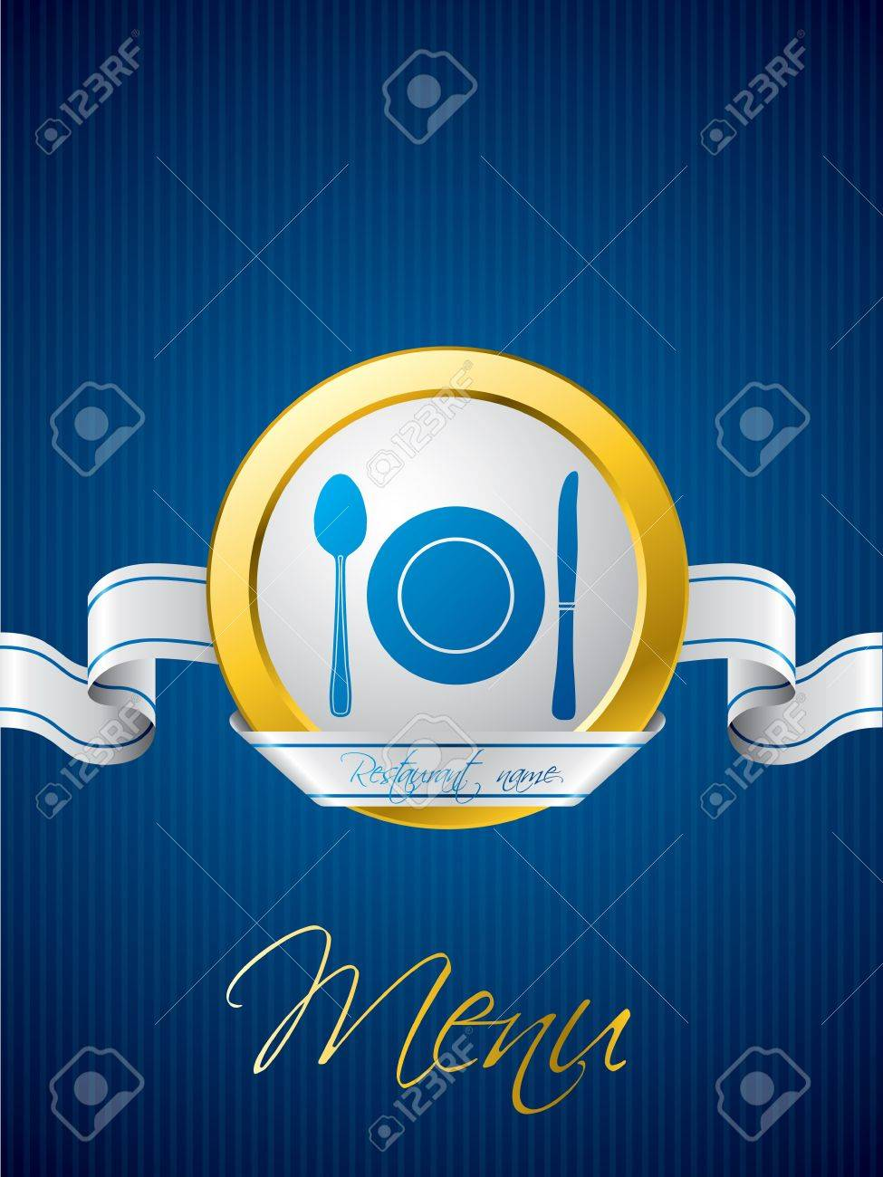 Blue menu brochure design with white ribbon Stock Vector - 18135779