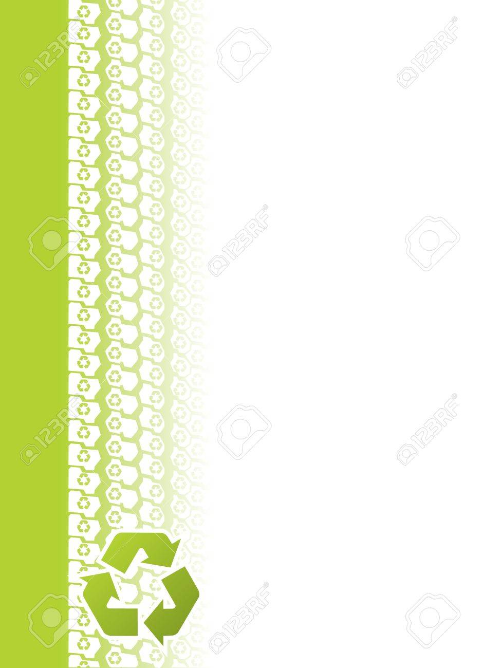 Ecological tire tread brochure design with recycle sign Stock Vector - 18217435