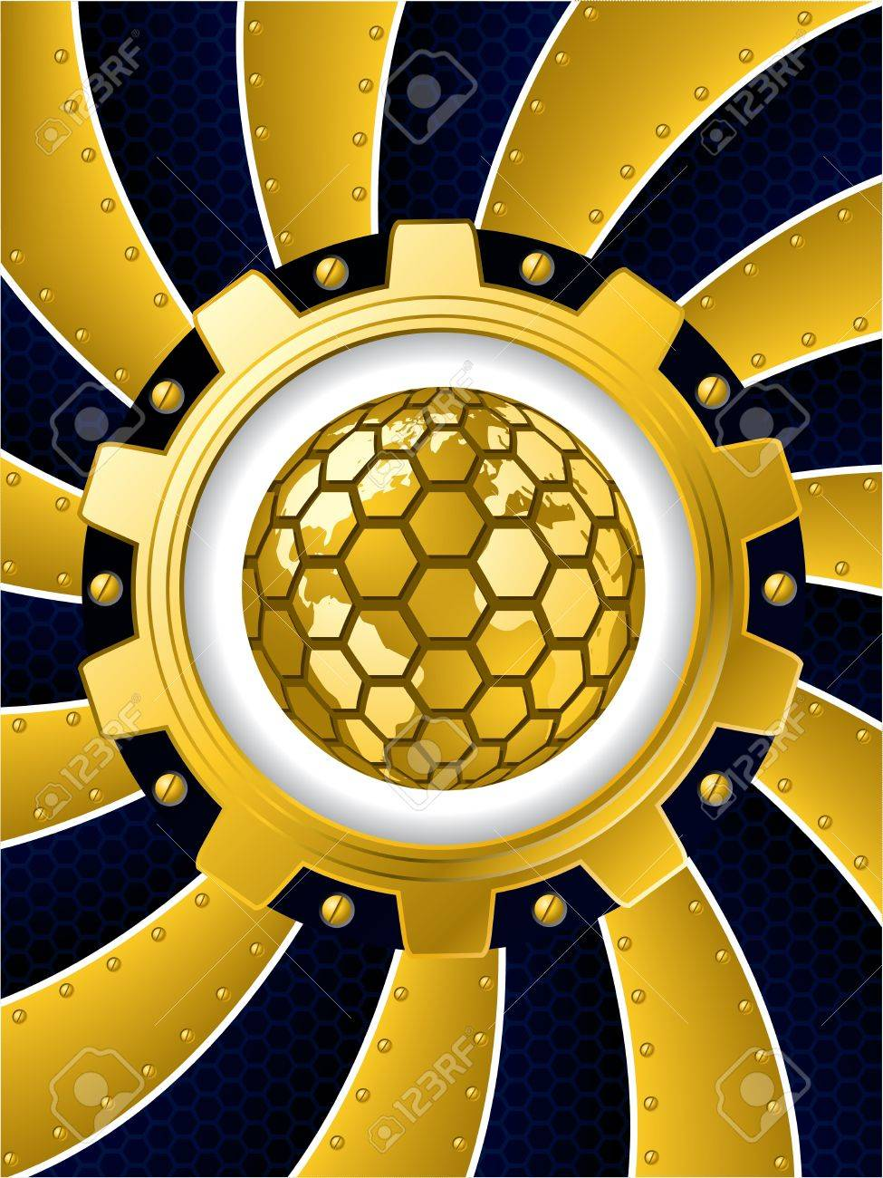 Twirling background with golden cogwheel and hexagon globe Stock Vector - 18380447