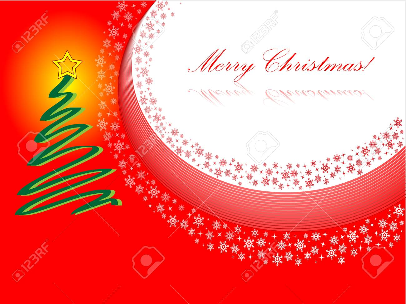 Christmas card design in red with christmas tree Stock Vector - 18624764