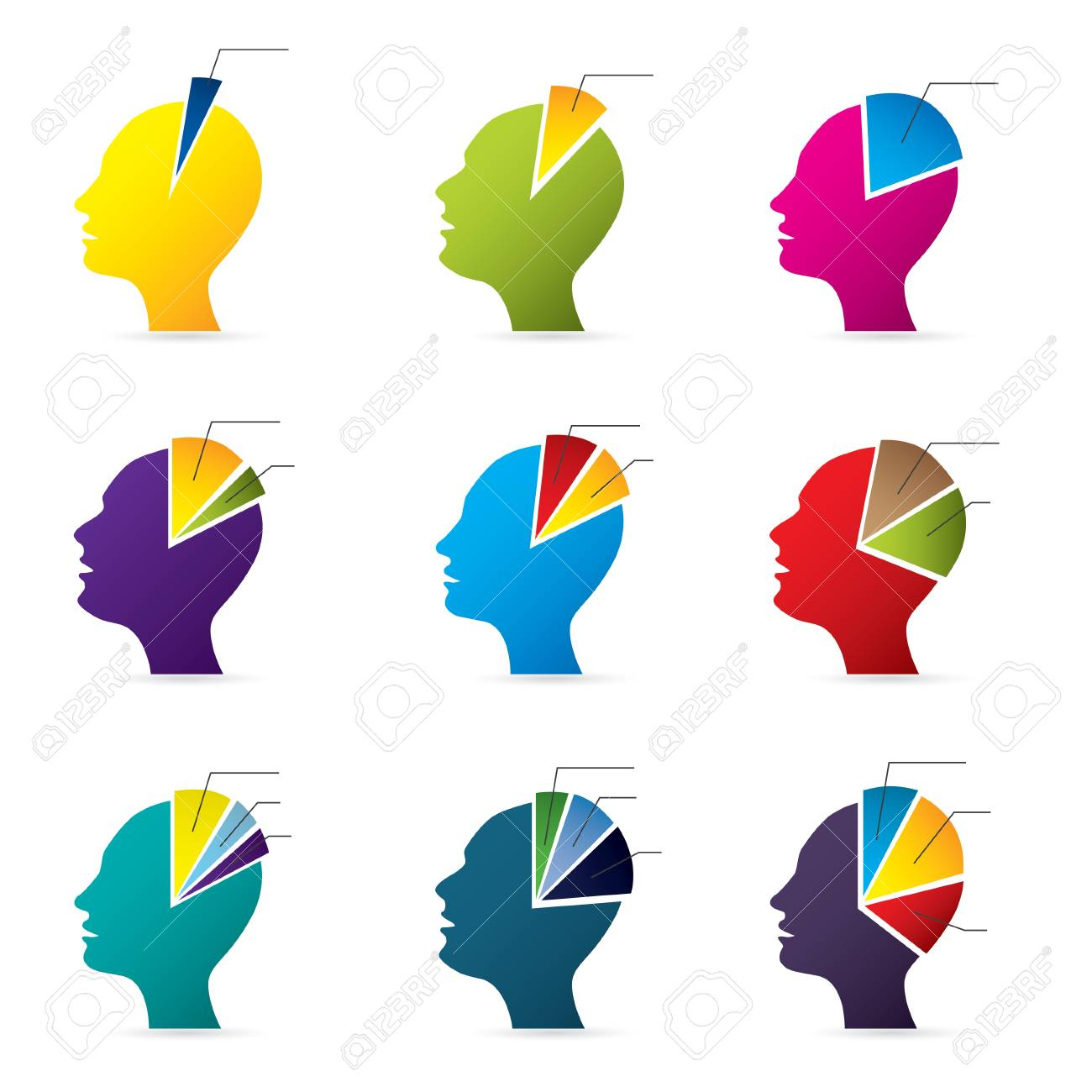 Human head infographic design with diagram shapes Stock Vector - 19268326