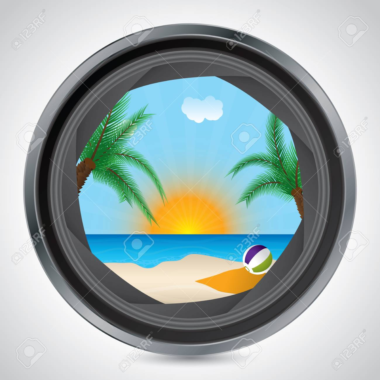 Sunny beach seen through the lens of a camera Stock Vector - 19796343