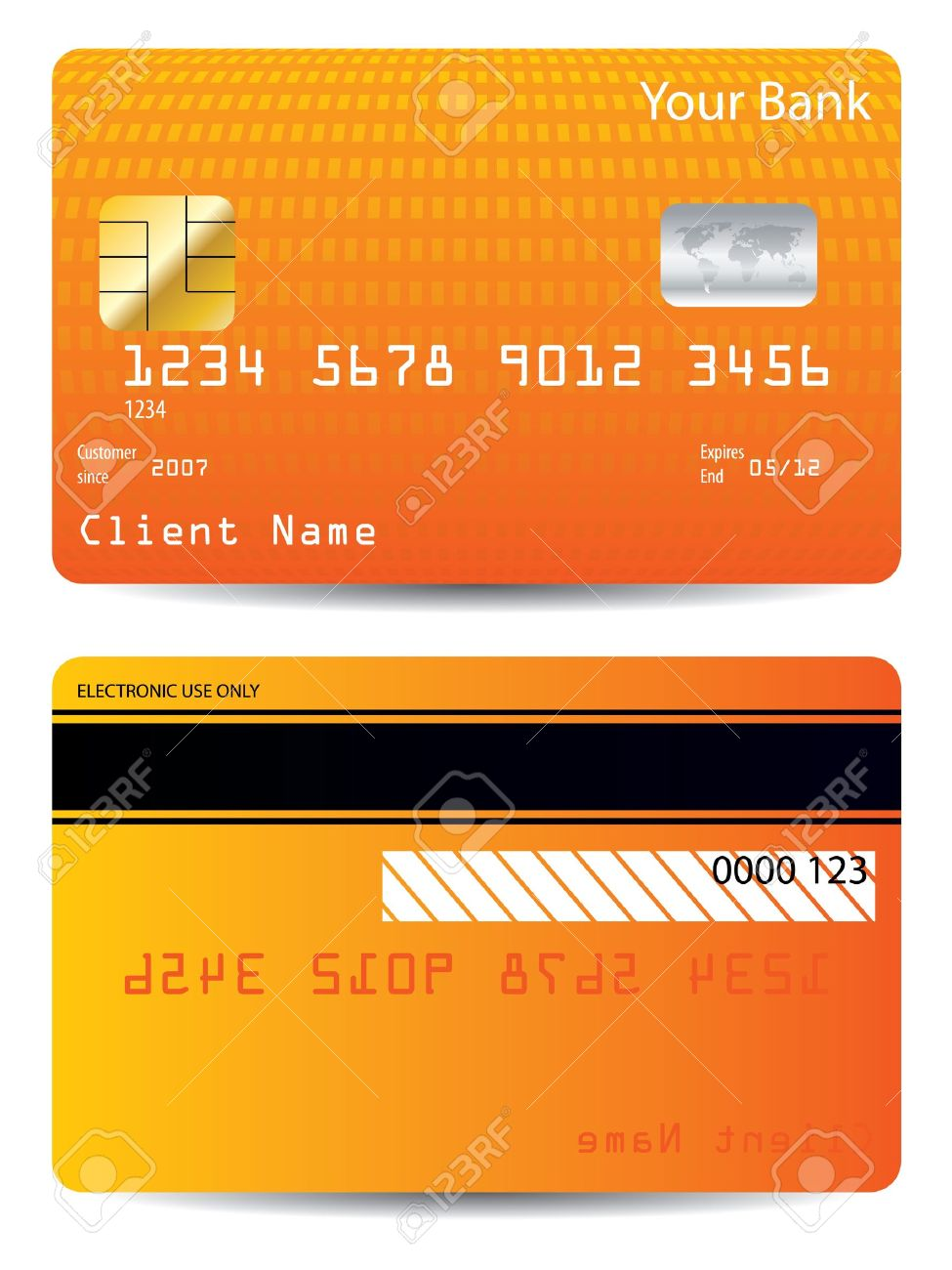 Textured credit card design with orange halftone Stock Vector - 20334915