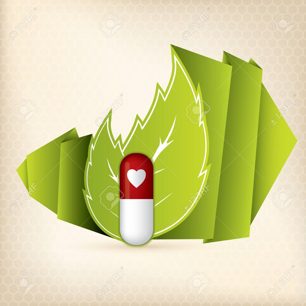 Natural Pill With Symbol For Heart Disease Royalty Free Cliparts