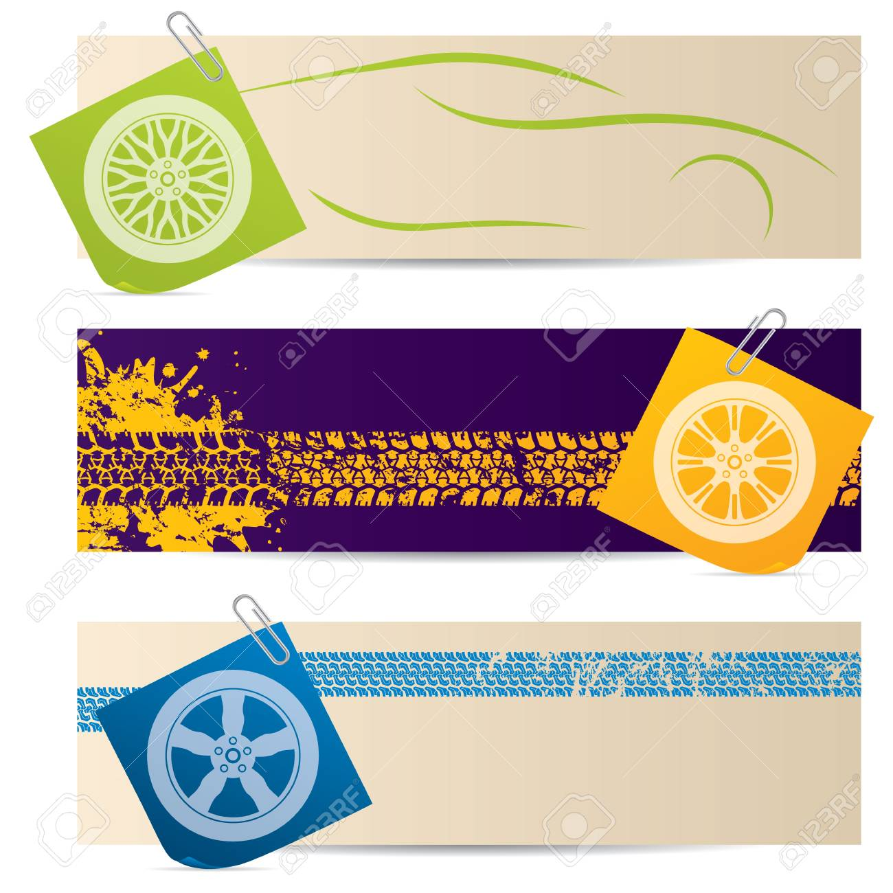 Tire labels with wheel silhouette post its Stock Vector - 20986498