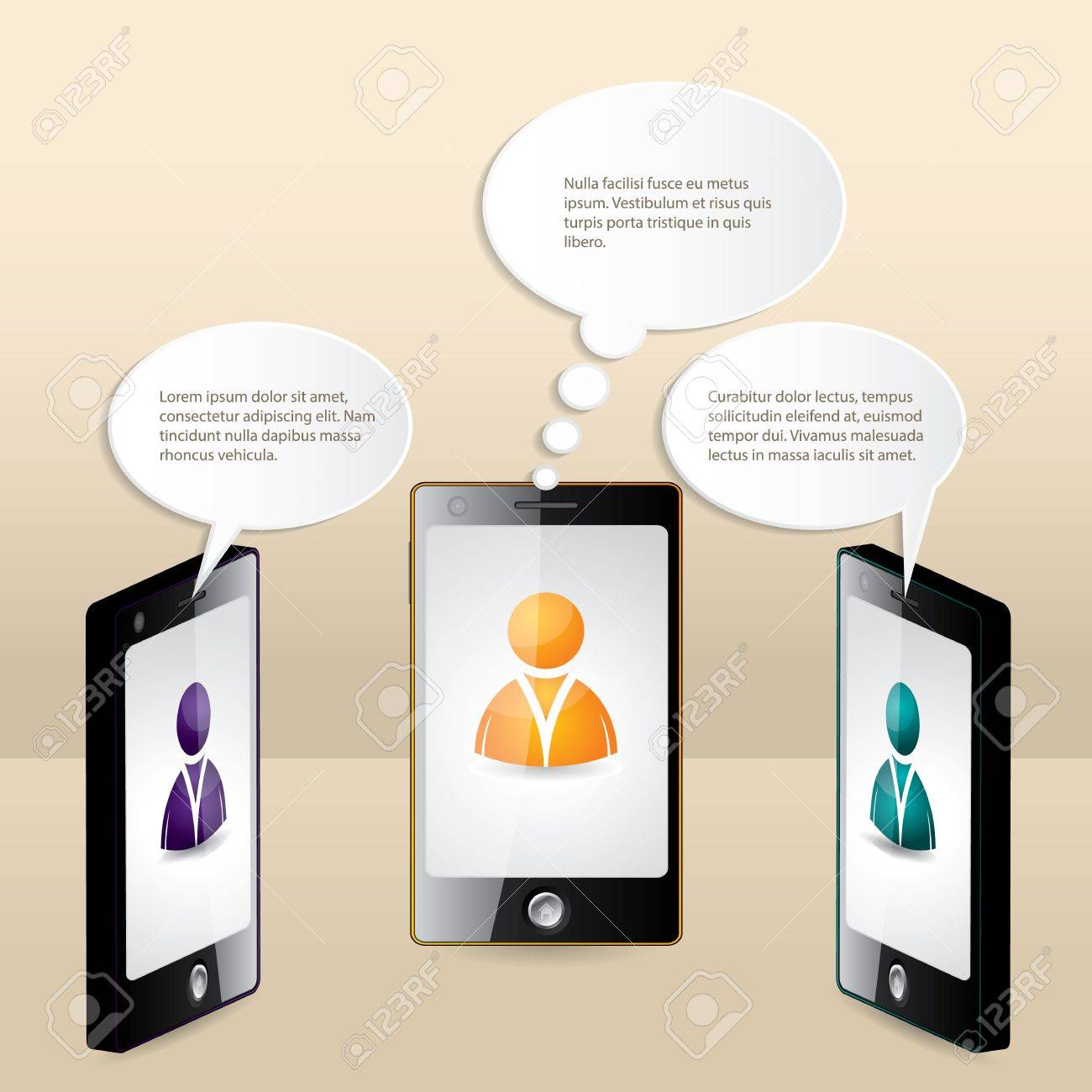 Smartphone conversation illustrated with speech bubbles and sample text Stock Vector - 20977887