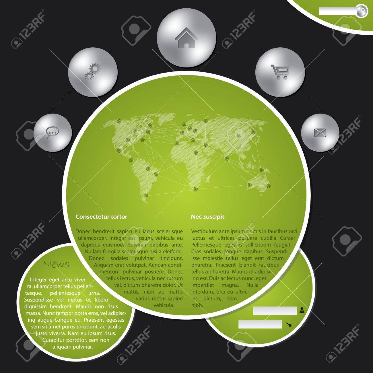 Cool website template with metallic buttons and world map Stock Vector - 20986780