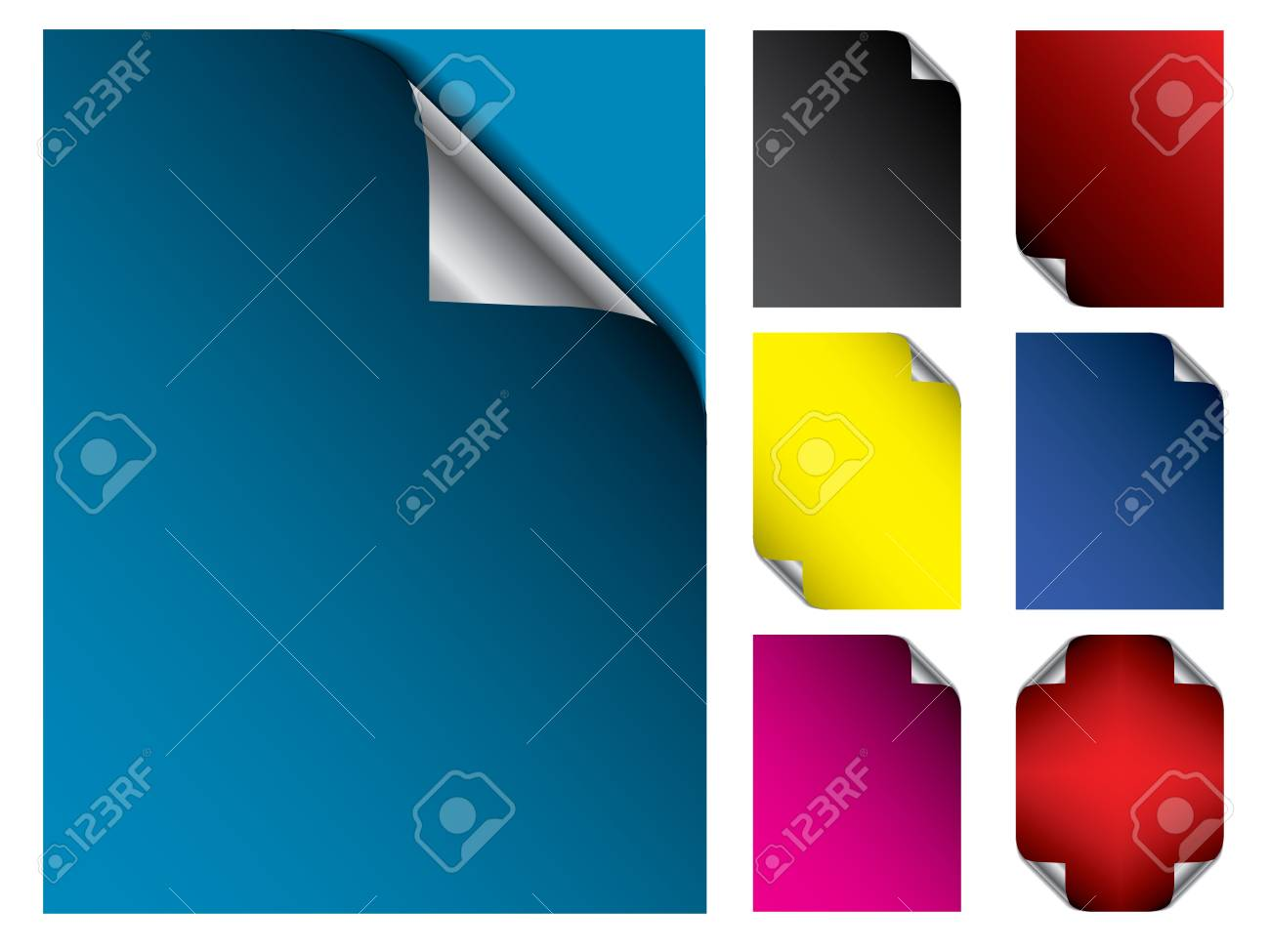 Color paper set with different corner foldings Stock Vector - 21465861