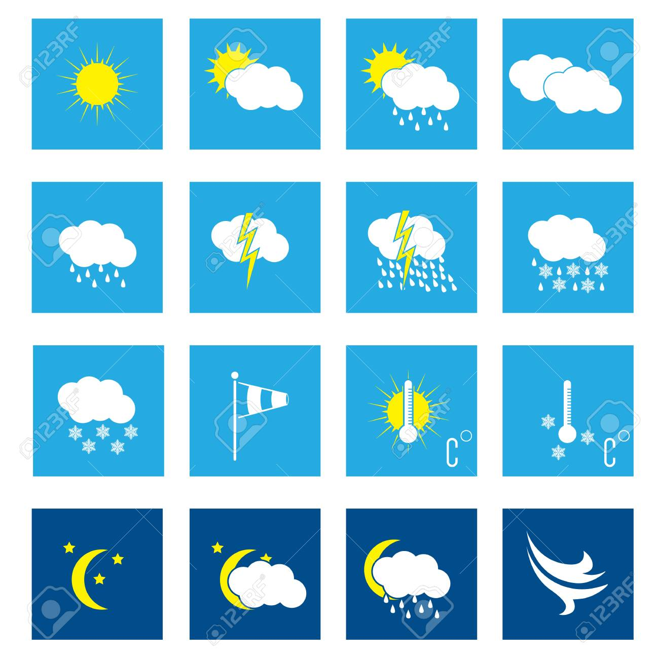Flat weather icon set of 16 in white Stock Vector - 22438548