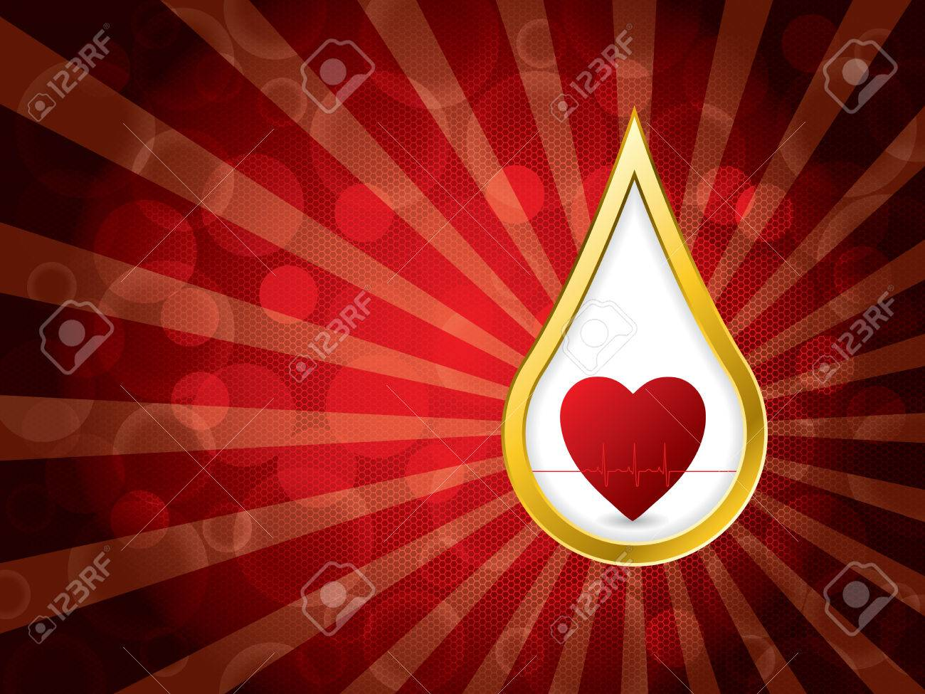 Abstract medical background with golden blood drop and ekg Stock Vector - 22749030
