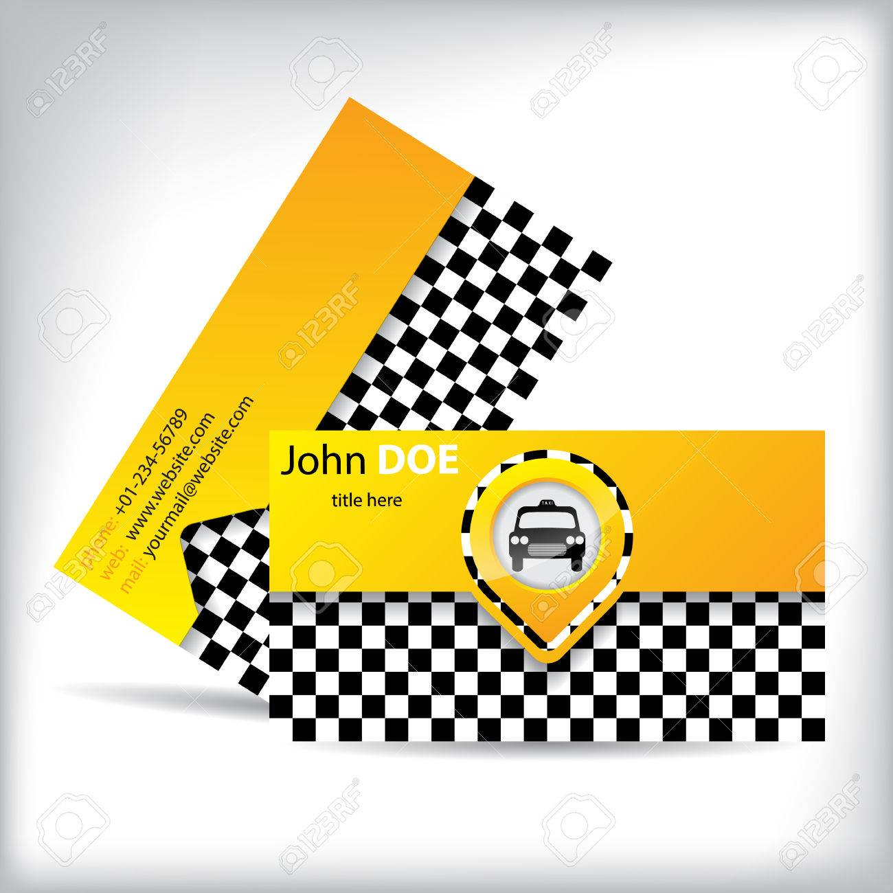 Business Card Design With Car Symbol For Taxi Companies And Drivers ...