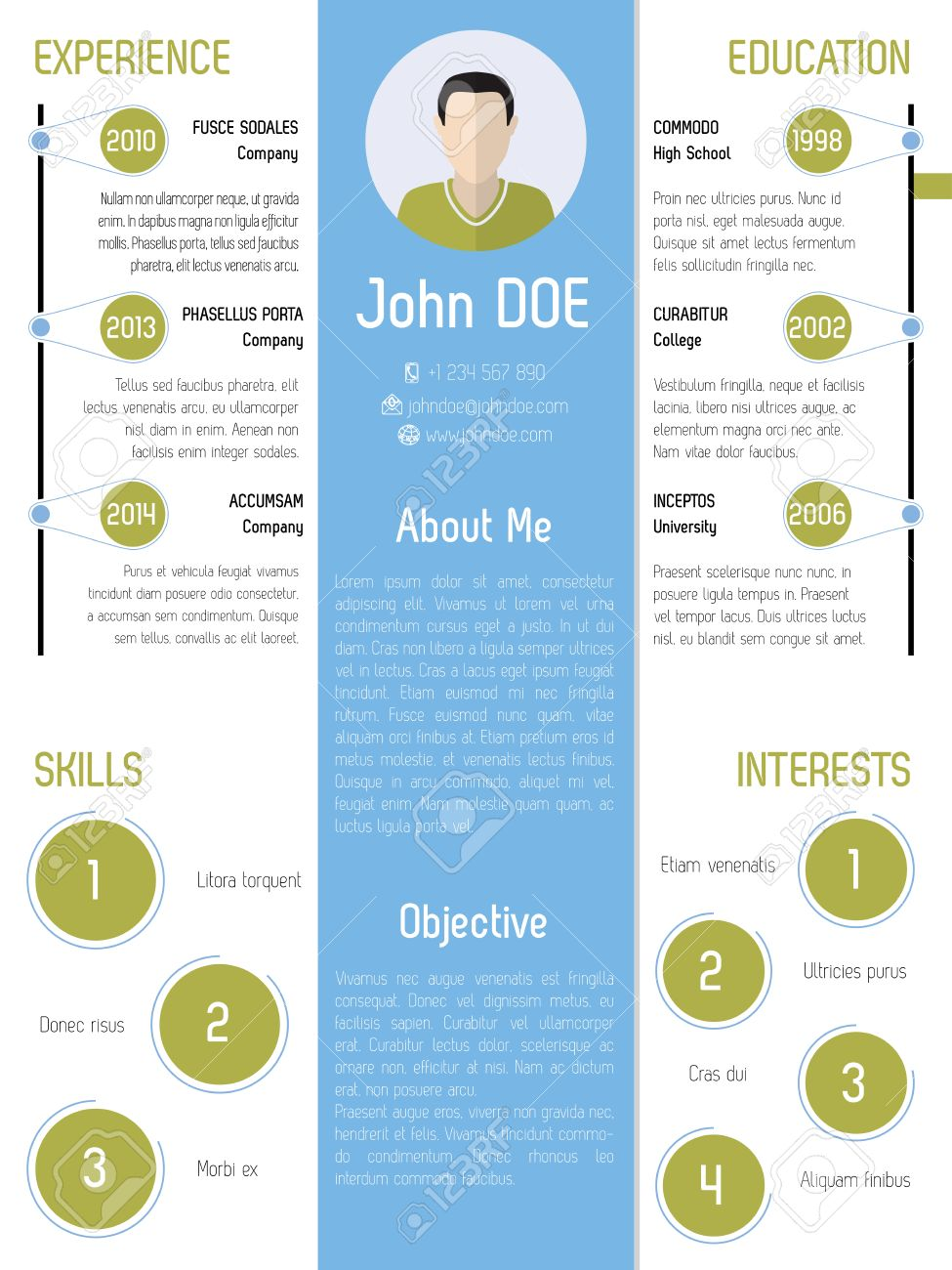modern resume design with green and blue colored elements stock vector 36753721 - Elements Of A Resume