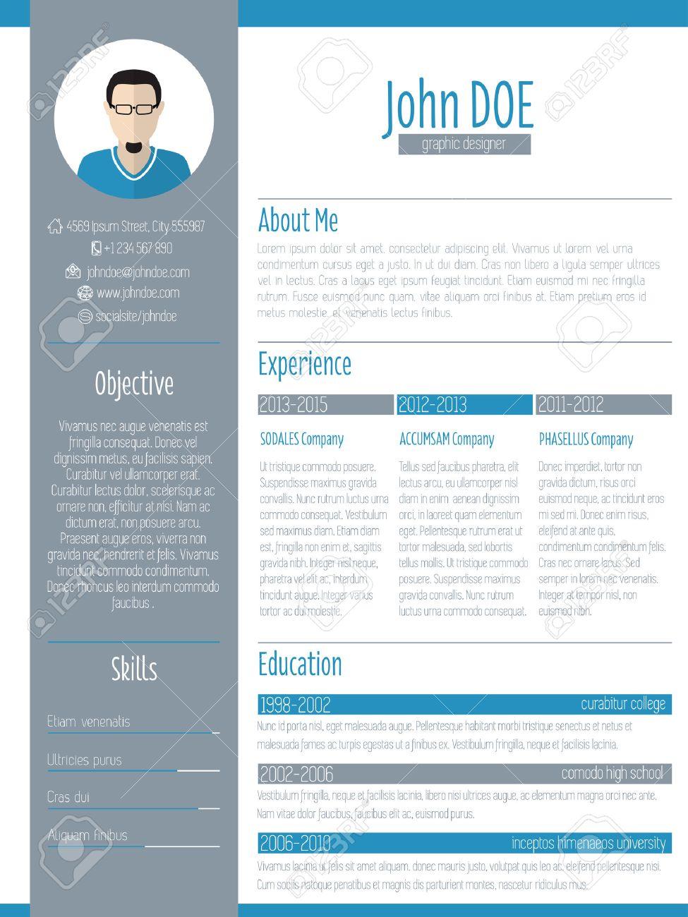 Curriculum Curriculum Vitae Cv Diseño Moderno Con Foto Ilustraciones ...