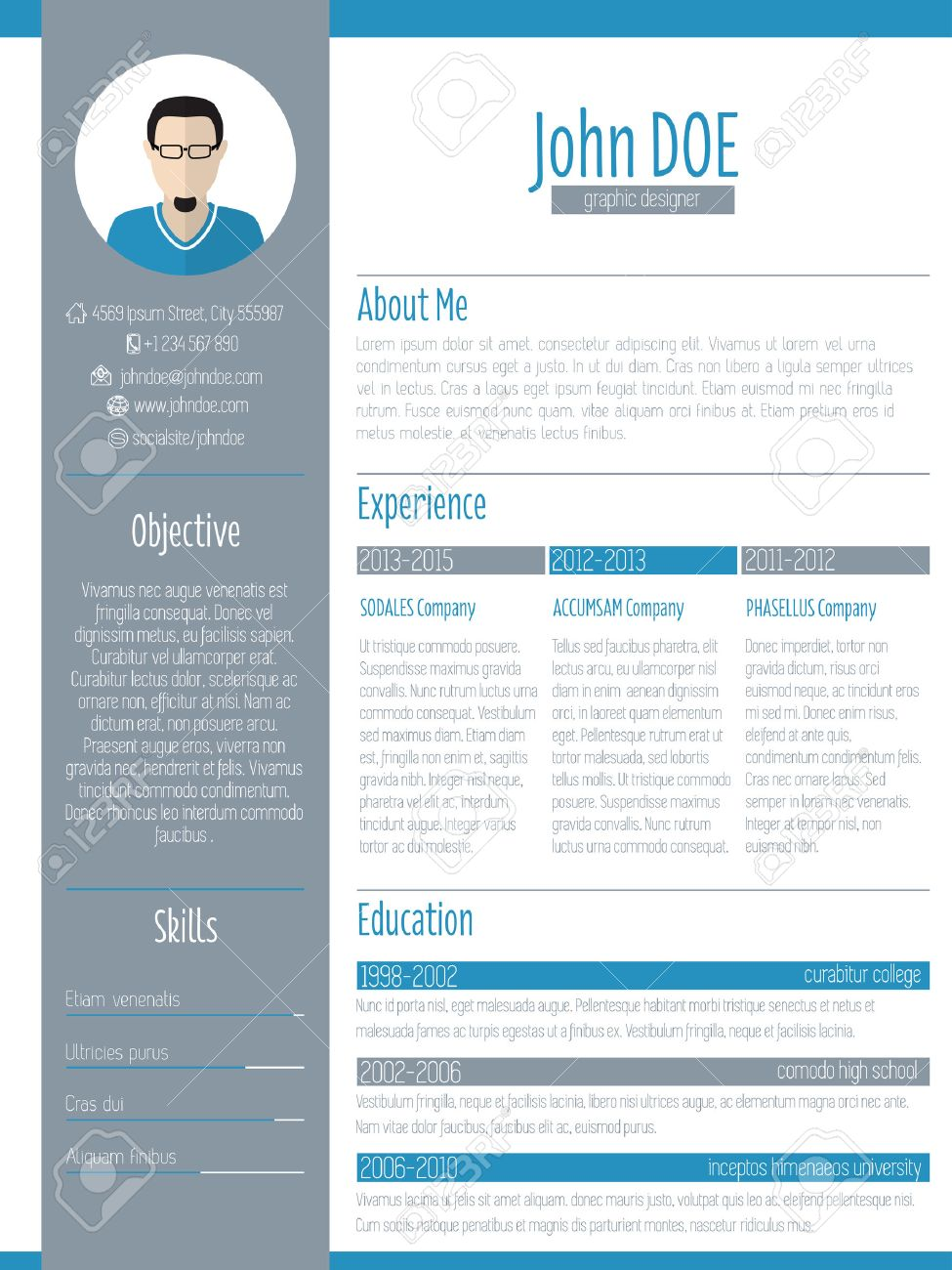 Modern Resume Curriculum Vitae Cv Design With Photo Royalty Free