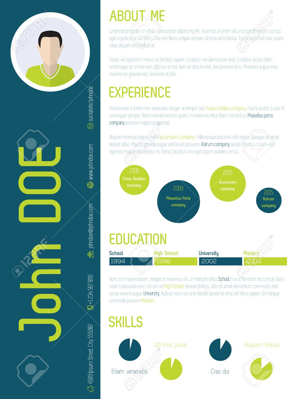 modern resume cv curriculum vitae design with cool colors royalty