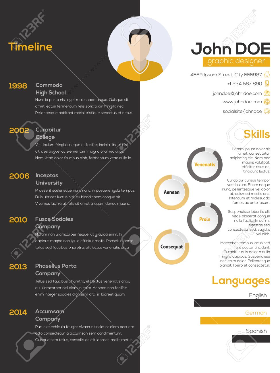 cv images stock pictures royalty cv photos and stock cv contrast resume cv curriculum vitae design in black white and orange illustration