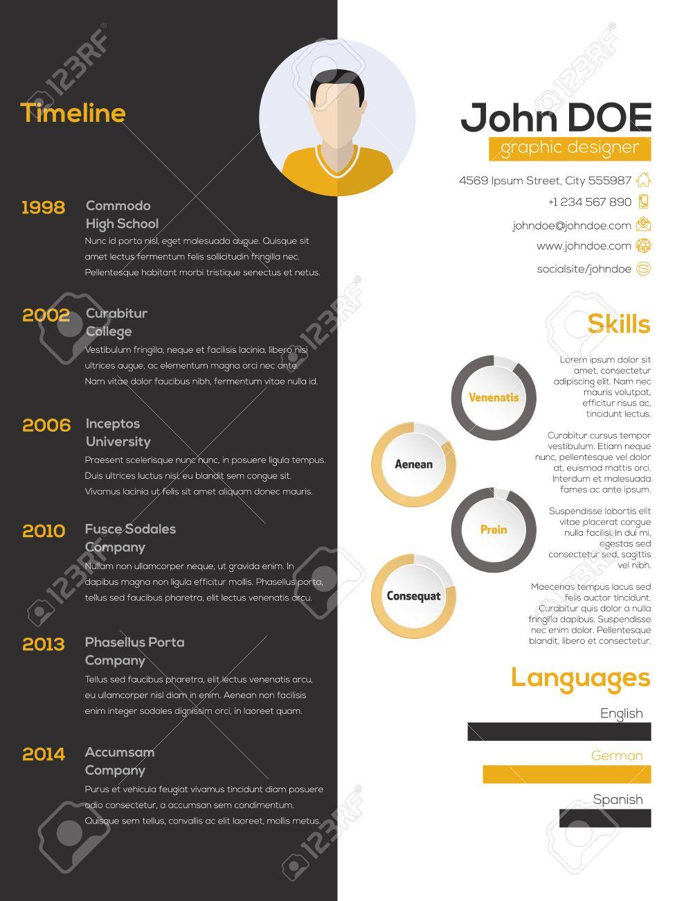 Contrast Resume Cv Curriculum Vitae Design In Black White And