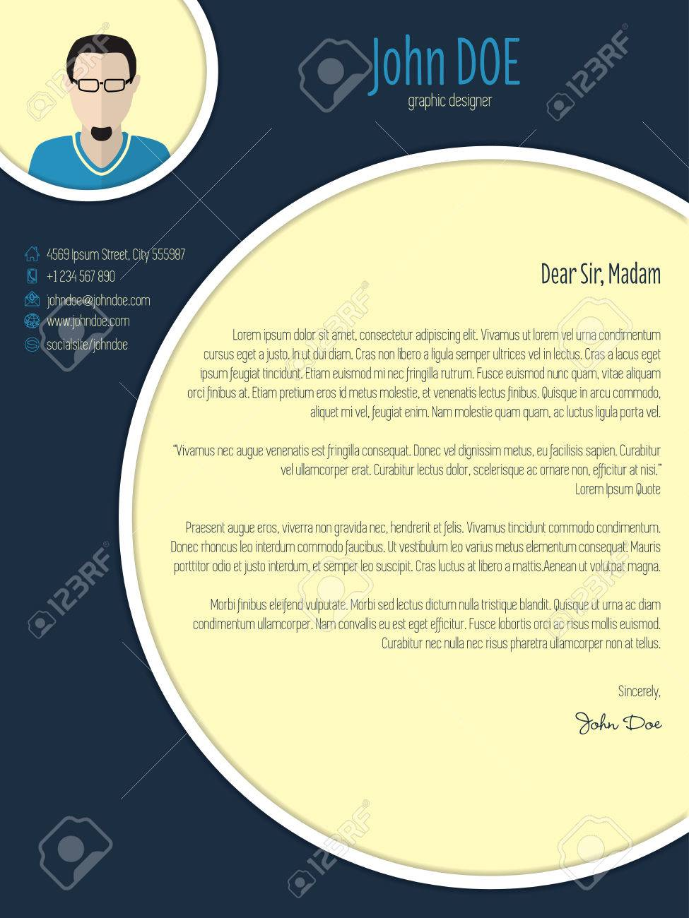 Cool New Modern Cover Letter Template With Circle Elements Royalty ...