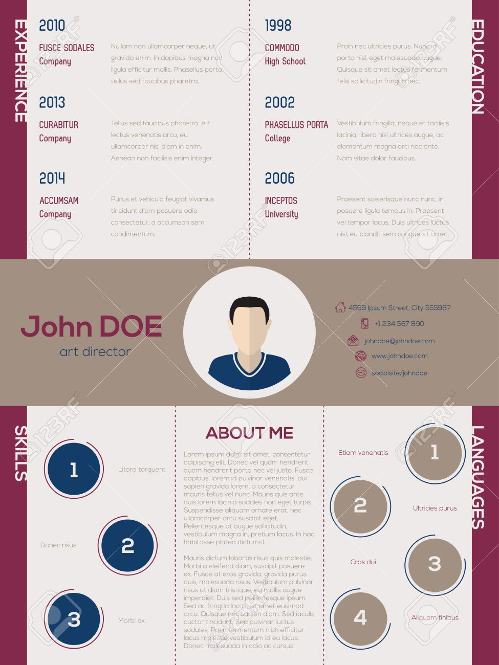 Cool New Modern Cv Resume Curriculum Vitae Template With Circle