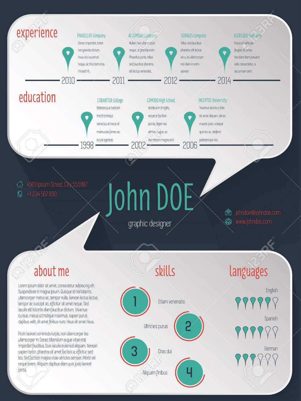 Speech bubble resume cv curriculum vitae template design on dark speech bubble resume cv curriculum vitae template design on dark background stock vector 38647038 yelopaper Images