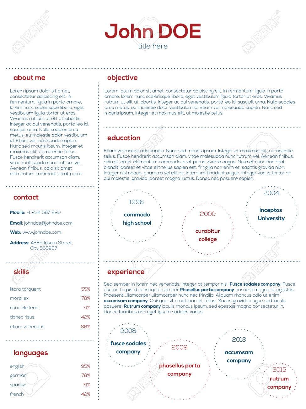 simplistic modern cv curriculum vitae cv design in blue and red simplistic modern cv curriculum vitae cv design in blue and red stock vector 40014617