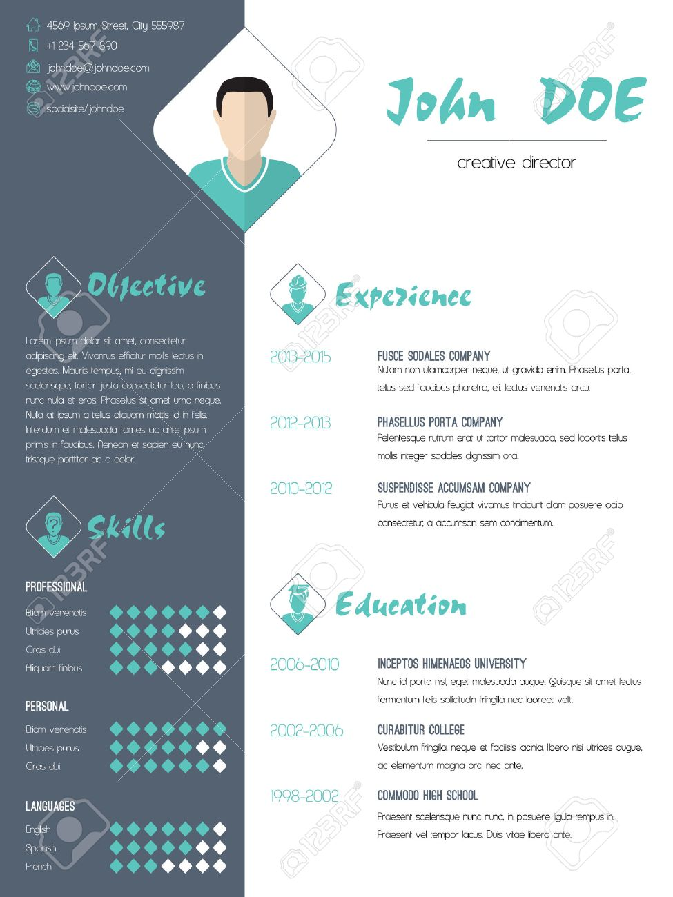 Modern Cv Curriculum Vitae Resume Design With Photo Royalty Free